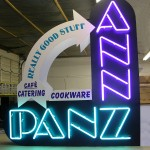 projecting neon sign